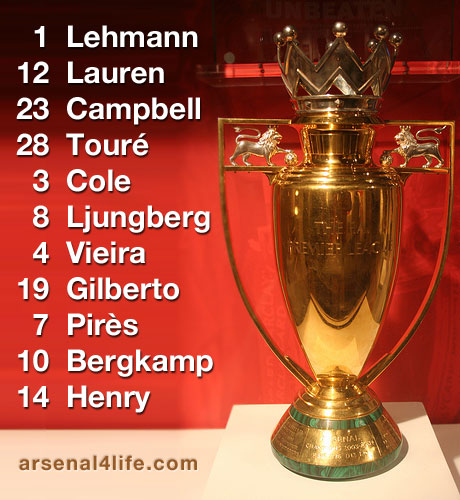 The Arsenal Invincibles Gold Premier League trophy